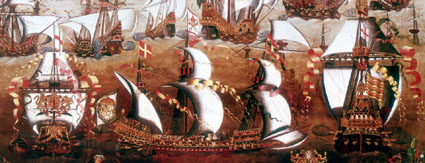 Code: H391417 - Artist: ******** - Title: The Spanish Armada which threatened England in July 1588.