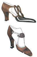 ******** High heeled court shoes both with elongated toes, open sides & unusual straps. One has a double loop design across the instep, the other a leaf- shaped bar. Illustration in