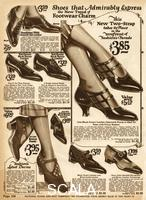 ******** American clothing catalogue, showing a seletion of women's leather low and high heeled practical shoes. Fashion illustration in 'The National Money Saving Style Book' Spring & Summer 1924 page 158 1924