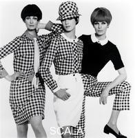 French, John (1907-1966) Marie-Lise Gres, Moyra Swann and Paulene Stone in 'Mix' n' match' gingham outfits, for the Daily Mail. London, UK, 1965