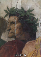 Raphael (1483-1520) Disputa (Disputation over the Blessed Sacrament) - detail (head of Dante)