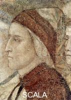 Giotto (Giotto di Bondone 1266-1336), school Last Judgment: right-hand lower part  - detail (Dante's face)