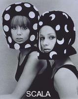 French, John (1907-1966) Dots & Moons, Patti Boyd and Celia Hammond wearing helmets by Edward Mann. England, 1965.