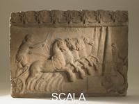 ******** Terracotta plaque with a chariot-racing scene, Roman, Italy, 1stC
