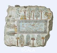 Egyptian art A garden pool: fragment of wall painting from the tomb of Nebamun. Thebes, Egypt18th Dynasty, around 1350 BCA. The pool is shown full of birds, lotus flowers and tilapia fish, while papyrus grows along the edge. Around the pool are palms, dom-palms, sycomore fig, mandrakes, and other bushes. In one corner is a tree in which the tree-goddess Hathor presents offerings to whoever was at the right of the scene, most likely Nebamun and Hatshepsut, his wife.In tombs of the Ramesside period (about 1295-1069 BC) the tree-goddess is often shown pouring life-giving water for the tomb-owner and his spouse; to judge from tombs of similar date to this one, Hathor can also function as a protector and provider to the deceased. The fish, birds and plants also act as rich symbols of rebirth and new life