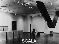 ******** Installation view of the exhibition 'Primary Structures', The Jewish Museum, NY, April 27 - June 12, 1966. Donald Judd, Untitled (1966), and Untitled (1966); Robert Morris, Untitled (2 L beams), and Robert Grosvenor, Transoxiana (1965)