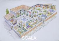 ******** Archaeology - Italy. Pompeii. Reconstructed private residential 'domus'. Colour illustration