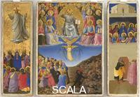 Angelico, Fra (1387-1455) Triptych with Ascension, Last Judgment, Pentecost and Saint Peter Preaching (after restoration)