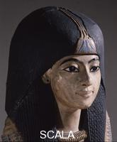 ******** A mummy mask of a man wearing an elaborate collar and a heavy wig adorned with a lotus blossom.