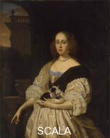 Mieris, Frans van the Elder (1635-1681) Portrait of a Lady with a Lapdog, 1672