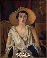 Derain, Andre' (1880-1954) Portrait of Madame Paul Guillaume with large hat, 1928-29