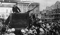 ******** Lenin at Sverdlov Square in Moscow Addressing Red Army Units Leaving for the Civil War, Moscow, May 5th 1920 (Original Photo with Trotsky and Kamenev Standing on the Right on the Steps of the Platform. Later Lenin ordered to remove Trotsky from the Photograph)
