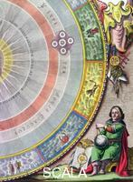 Cellarius, Andreas (c. 1596-1665) Nicolaus Copernicus, Polish astronomer, (1660-1661). Detail from a map showing the Copernican system of planetary orbits (the  'Planisphaerium Copernicanum'). From 'The Celestial Atlas, or The Harmony of the Universe' (Atlas coelestis seu harmonia macrocosmica) by Andreas Cellarius, published by Johannes Janssonius, (Amsterdam 1660-1661).