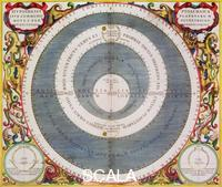 Cellarius, Andreas (c. 1596-1665) Ptolemic System, 1660-1661. The Ptolemaic or geocentric model has the Earth at the centre of the Universe with all the other bodies, including the Sun, orbiting around it. From the 16th century it was superseded by the heliocentric models proposed by Copernicus, Kepler and Galileo. From 'The Celestial Atlas, or The Harmony of the Universe' (Atlas coelestis seu harmonia macrocosmica) by Andreas Cellarius, published by Johannes Janssonius, (Amsterdam 1660-1661).
