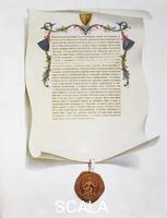 ******** Facsimile edition of the Magna Carta, English charter, 1215 (1816). Magna Carta, also called Magna Carta Libertatum, limited the rights of the monarch and is regarded as being the first step in establishing the rule of constitutional law that applies today. King John was compelled to sign it at Runnymede in the face of a baronial revolt.
