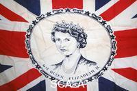 ******** Union Jack flag with a portrait of Queen Elizabeth II at the centre.