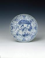 Chinese art Kraak dish with deer and 'Y'-shaped rocks, Ming dynasty, China, c1580-1600.