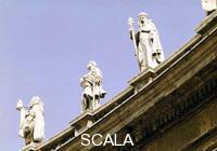 ******** View of three statues in St. Peter's Square from below