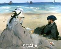 ******** At the Beach, 1873. Artist: Edouard Manet At the Beach, 1873. Located in the collection at The Louvre, Paris, France.