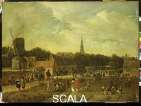 Rombouts, Gillis (1630-1678) Market Scene in a Village with Windmill, 1657