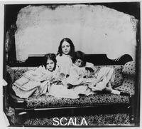 Carroll, Lewis (Charles Lutwidge Dodgson called 1832-1898) Edith, Lorina, and Alice Liddell. c. 1862