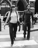 ******** Jane Fonda and Michael Hunter arriving at a press conference, London, 1971. Arriving at the Wig and Pen Club, the Strand, during of Fonda's European tour against the Vietnam War. American actress Jane Fonda was a prominent campaigner against the war. Hunter was a representative of Vietnam Veterans Against the War (VVAW).