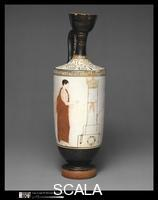 Achilles Painter (5th cent. BCE), attr. Terracotta lekythos (oil flask). Greek, Attic, Classical, c. 440 BCE. View with a mourner at a tomb (overall scene on vase: two youths at a tomb; at left a mourner, at right the deceased with his soul hovering above him. Greek