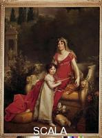 Gerard, Francois (1770-1837) Elisa Baciocchi with Her Daughter in the Boboli Garden