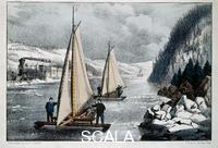 Currier and Ives (19th cent.) Iceboat Race on the Hudson River