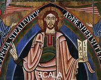 ******** Christ Pantocrator, altarpiece from Ribes Valley, workshop of La Seo d'Urgell, 12th century, tempera on panel. Catalan Romanesque art. Detail.