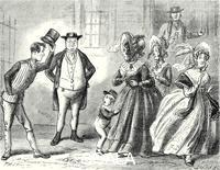 ******** Illustration from The Pickwick Papers by Charles Dickens, 19th century.Mrs. Bardell screamed violently; Tommy roared; Mrs Cluppins shrunk within herself; and Mrs Sanders made off without more ado.