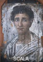 Roman art Portrait of a man, 3rd cent. a.D., from Fayum . Such portraits were apparently kept at home during the subject's lifetime and added on his death to his mummified corpse. They are often known as Fayum portraits after the place where many of them were found