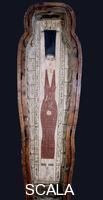 Egyptian art Lid of the coffin of Khenstefnakht with depiction of the goddess Nut, whose body symbolized the vault of the sky, offering protection to the deceased. Nut is portrayed swallowing the setting sun and getting ready to give birth to the morning sun