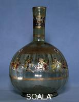 Islamic art Mamluk glass hookah base decorated with images of polo players