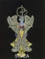 ******** Goldsmith's art, 20th century. Henri (1853-1942) and Paul Vever (1851-1915), Liberty style enamelled gold, ivory, diamonds and pearls pendant. Presented at the Expo (World's Fair) in 1900.