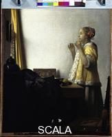 Vermeer, Jan (1632-1675) Young Woman with a Pearl Necklace, c. 1662-1665