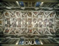 Michelangelo (Buonarroti, Michelangelo 1475-1564) General view of the ceiling [before restoration]