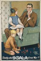 ******** United Kingdom, 20th century, First World War. 'Daddy, what did you do in the Great War?' Poster for the recruitment of soldiers, illustration by Savile Lumley (active 1910-1950), 1914.