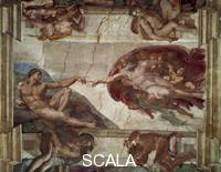 Michelangelo (Buonarroti, Michelangelo 1475-1564) Center of the ceiling: Creation of Adam [before restoration]