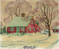 ******** Wiggins, Guy Carleton (1883-1962). The Little Red House, Clinton, Connecticut.