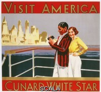 ******** Visit America, Cunard White Star. Anonymous. Lithograph in colours, circa 1937. 57 x 64cm