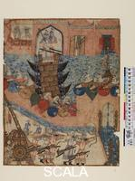 ******** Saray Portfolio (Diez Album). The Mongols under their chief Hulegu conquering Baghdad in 1258. Illuminated manuscript page, 14th cent