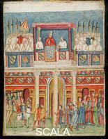 ******** Boniface VIII Opening the First Jubilee from the Loggia delle Benedizioni of the Lateran Palace. From: Instrumenta translationum, MS. 1622, f. inf 227. Copy by Jacopo Grimaldi after a fresco formerly at San Giovanni in Laterano, Rome