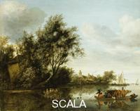 ******** Ruysdael, Salomon van (c.1602-1670). A River Landscape with a Hayloft among Trees and a Ferryboat with Passengers and Cattle.