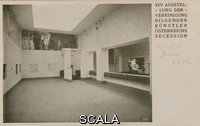 ******** Ausstellung der Wiener Secession mit Beethovenfries. XIV exhibition of the Vienna Secession. Look in the left room (Room A) of the Vienna Secession with Klimt's Beethoven Frieze and perspective in the central hall to the Beethoven sculpture by Max Klinger. 1902. Photographic postcard of the Secession.