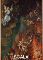Memling, Hans (1425/40-1494) Last Judgment: right-hand panel - detail (angel sounding trumpet and fall of the damned), 1466-73