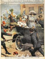 Beltrame, Achille (1871-1945) Sarajevo, the Archduke Francis Ferdinand, heir to the thron of Austria, being murdered. From 'La Domenica del Corriere', July 5, 1914