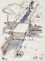 Oldenburg, Claes (b. 1929) Proposed Monument for the Intersection of Canal Street and Broadway, N.Y.C. - Block of Concrete with the Names of War Heroes, 1965
