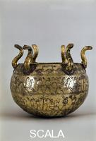 ******** Lebes (silver gilt container with figures of marching warriors), from Barberini Tomb in Preneste (today Palestrina), Lazio, Italy. Etruscan civilisation, 7th century BCE