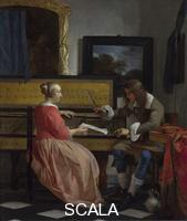 Metsu, Gabriel (1629-1667) A Man and a Woman seated by a Virginal, about 1665